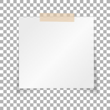 Office white paper sticky note isolated on transparent background. Post on sticky tape. Template for your projects. Vector