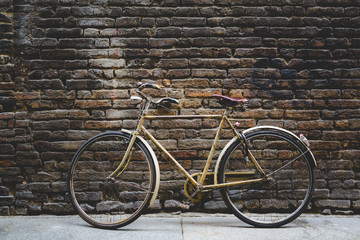 Vintage bicycle leaning against a brick wall