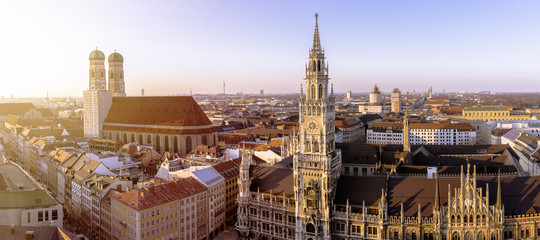 Church of Our Lady and new town hall at Marienplatz, Munich, Germany Wall mural