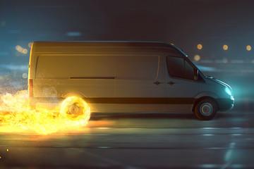 Lieferwagen mit Feuerreifen