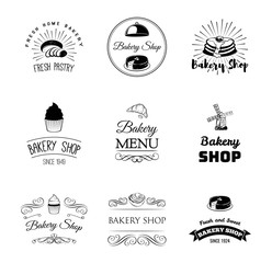 Set of vintage bakery labels and design elements . vector illustration isolated on white