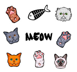 Cats design elements set. Kitty face, paws. fish skeleton vector illustration isolated on white background