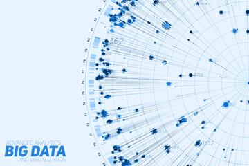 Fotoväggar - Blue Big data circular visualization. Futuristic infographic. Information aesthetic design. Visual data complexity. Complex data threads graphic. Social network representation. Abstract graph.