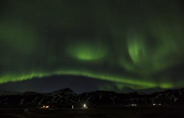 Iceland, Snaefellsnes, green polar light at night