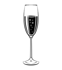 Champagne glass icon. Vintage vector illustration isolated on white