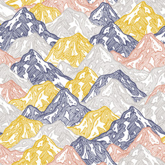 Mountains seamless pattern. Fun mountains kid wallpaper. Vector illustration