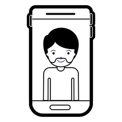 smartphone man profile picture with short hair and van dyke beard in black silhouette with thick contour