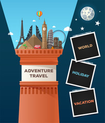 Travel composition with famous world landmarks, lighthouse and photo frame. Unusual travel and tourism banner. Vector illustration.