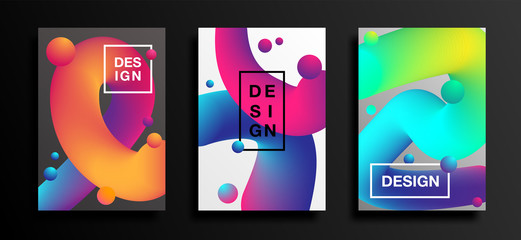 Posters with liquid color shapes. Futuristic trendy abstract covers. Fluid backgrounds set. Vector illustration Eps10.