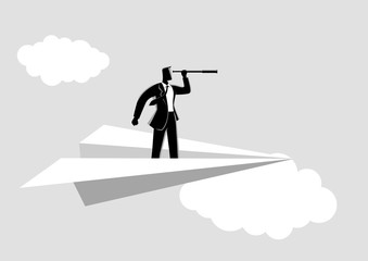 Businessman using telescope on paper plane