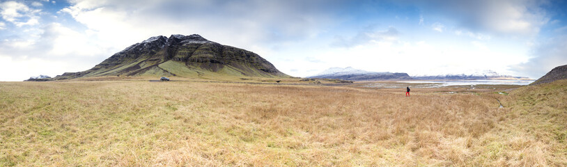 Iceland, panoramic view of icelandic landscape
