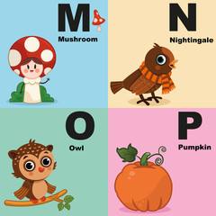 Vector illustration of alphabet kit which include m,n,o,p