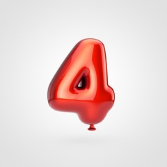 Glossy red balloon number 4 isolated on white background.