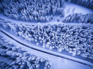 Germany, Bavaria, Rossfeldstrasse, alpine road in winter