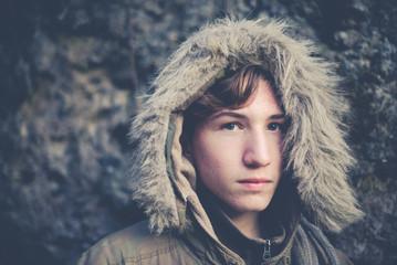 young boy explorer portrait - vintage style photo