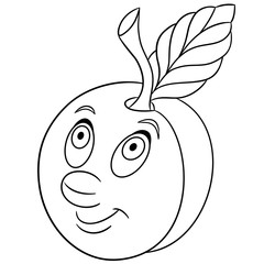 Coloring book. Coloring page. Cartoon Plum character. Happy fruit symbol. Food icon. Freehand sketch drawing. Design element for kids t-shirt print, labels, patches or stickers.