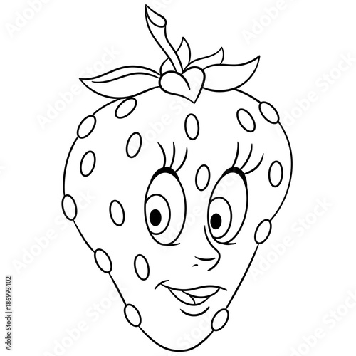 Coloring book. Coloring page. Cartoon Strawberry character. Happy ...
