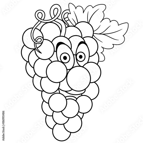 Coloring Book Coloring Page Cartoon Grapes Character Happy Fruit