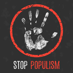 Vector illustration. Social problems. Stop populism.