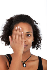 Portrait of young woman covering half of face with her hand