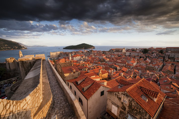 Croatia, Dalmatia, Dubrovnik, Old Town, view from city wall at sunset