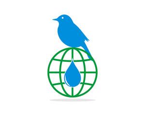 sparrow parakeets bird silhouette globe image vector