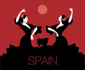"""Two Spanish flamenco dancers dancing """"sevillanas"""", typical Spanish dance. Bull, moon or sun in the background."""