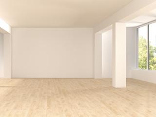Empty spacious room with wooden floor, 3D Rendering