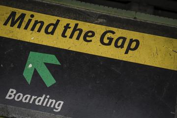 Brazil, Rio de Janeiro, Mind the gap sign inside a metro station
