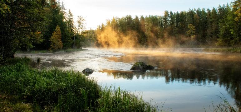 River in autumn. Farnebofjarden national park in Sweden