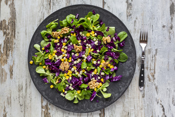 Winter salad with lamb's lettuce, red cabbage, corn and feta cheese on plate