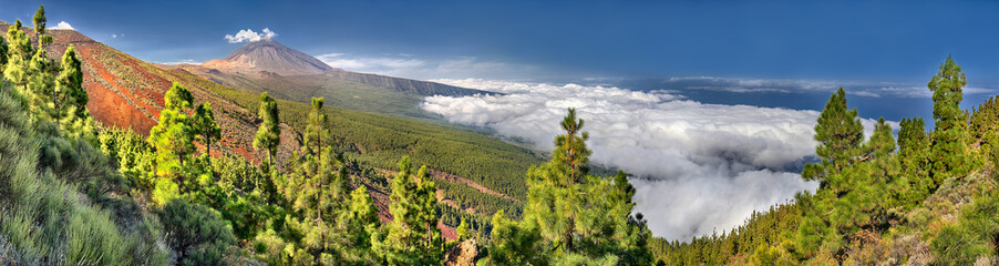 Panorama of the volcano Teide and Orotava Valley - view from Mirador La Crucita (Tenerife, Canary Islands)