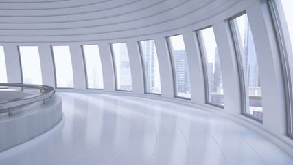 Empty hall in a high-rise building, 3D Rendering