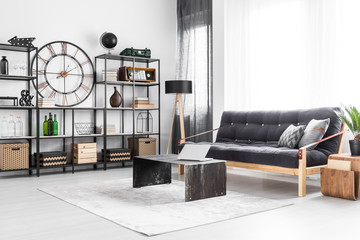 Living room with industrial clock