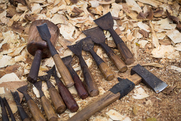 Set of wood chisel for carving , sculpture tools on wooden background