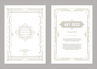 Art Deco frame design. Geometric frames for wedding invitations, cards and posters light gold color on white background. Vintage style.