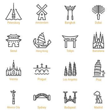 World Landmarks - Vector Line Icon Set - Part II