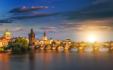 Famous iconic image of Charles bridge, Prague, Czech Republic. Concept of world travel, sightseeing and tourism.