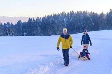 Winterspaziergang mit dem Schlitten und den Kids