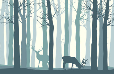 Vector forest landscape with two deer in pastel tones - vintage background