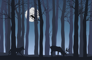 Vector flat illustration of night forest landscape with silhouettes of trees and animals with shining fulll moon
