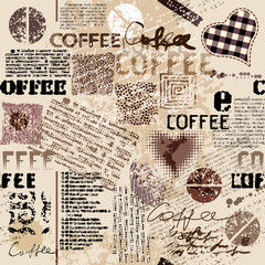 Coffee. Abstract coffee pattern on brown background with a lettring. Seamless pattern.