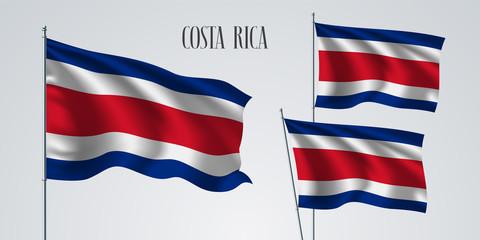 Costa Rica waving flag set of vector illustration