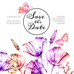 Vintage wedding invitation with watercolor flowers. Save the dat
