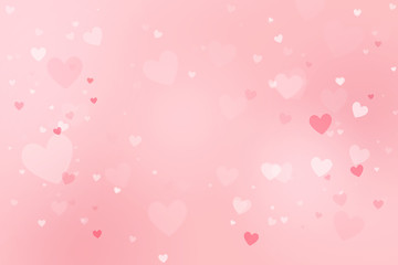 Pink heart-shaped  bokeh background for Valentine's day
