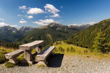 Holzbank mit Fernblick auf die Alpen Österreich Perspektive