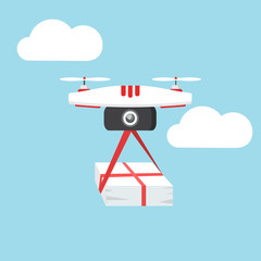 Dron delivers the parcel. The concept of fast, free delivery, gift. Vector illustration