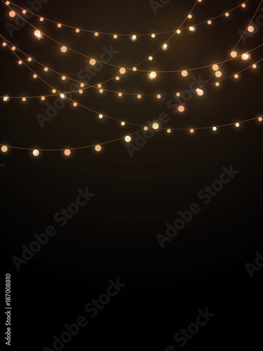 Quot Gold String Lights On Black Background Quot Stock Photo And