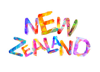 New Zealand. Vector triangular letters