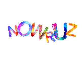 Nowruz. Spring holiday. Triangular letters